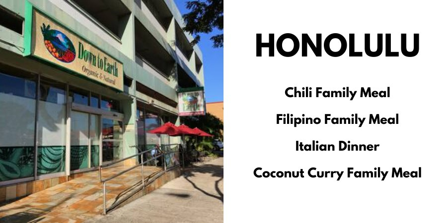 Honolulu: Chili Family Meal, Filipino Family Meal, Italian Dinner, Coconut Curry Family Meal