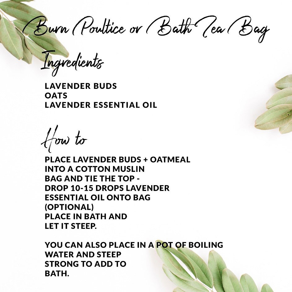 Instructions for Burn Poultice or Bath Tea Bag