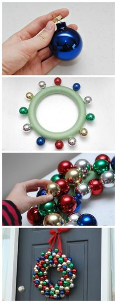 Photos: Making a wreath from Christmas tree ornaments