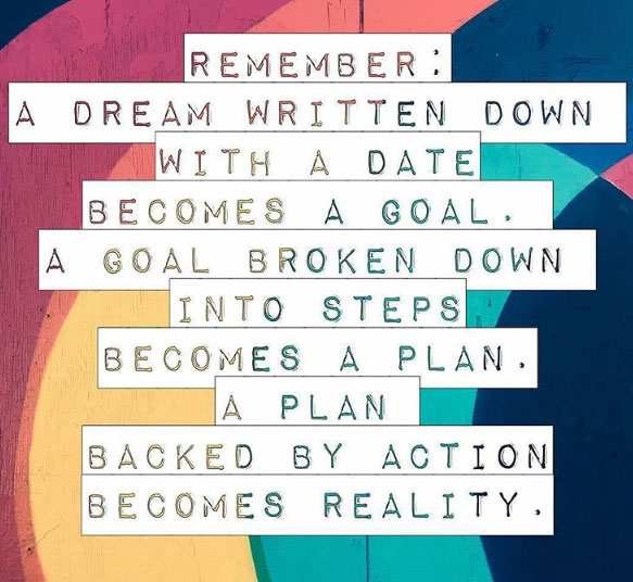 Remember: A dream written down with a date becomes a goal. A goal broken down into steps becomes a plan. A plan backed by action becomes reality.