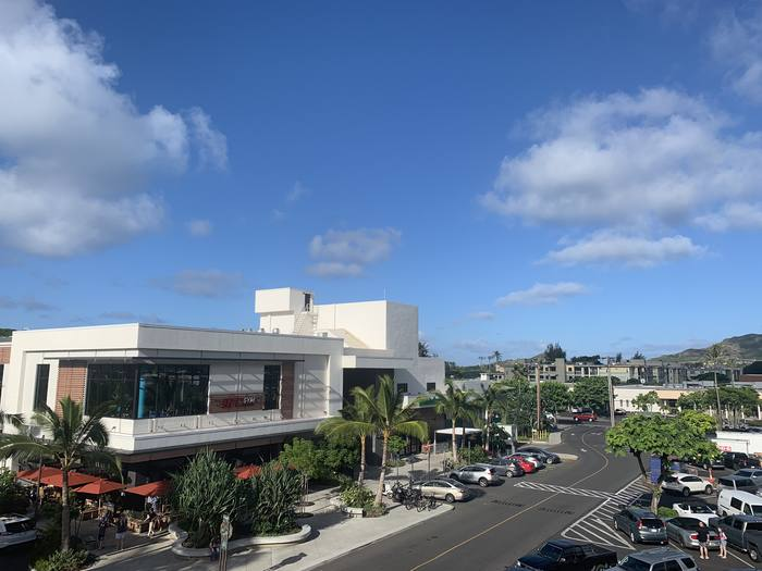 View of Down to Earth from above Kailua Town Center