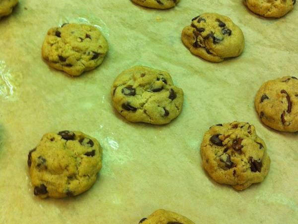 Photo: Chocolate Chip Cookies on a Baking Sheet
