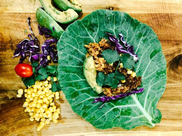 Photo: Vegan Taco made with a Collard Green Leaf