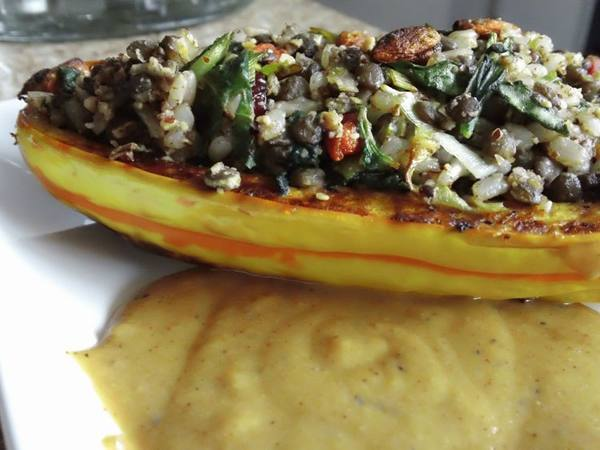 Photo: Stuffed Delicata Squash with Chickpea Gravy