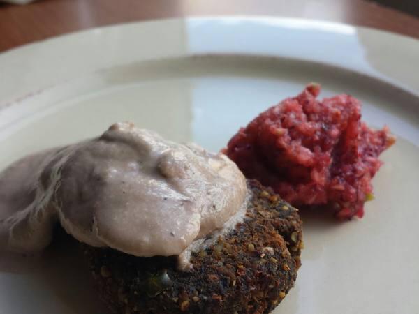 Photo: Veggie Burger with Raw Mushroom Gravy