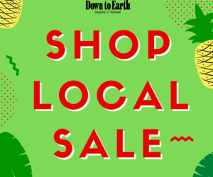 Graphic: Down to Earth Shop Local Sale