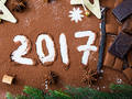 Photo: 2017 Written in Chocolate Powder with Chocolate Bars and Decorations
