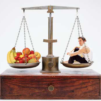 Scale Balancing Fresh Fruit and a Person