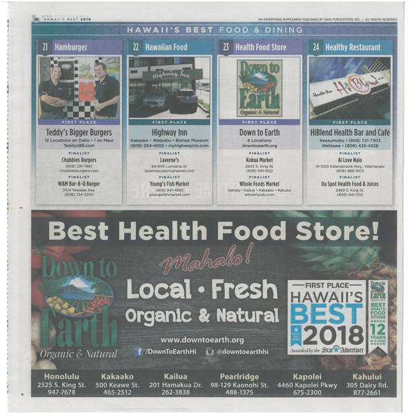 Photo: Down to Earth 2018 Best Health Food Store award