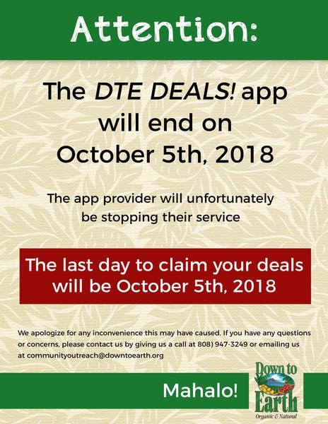 DTE Deals app discontinuation sign