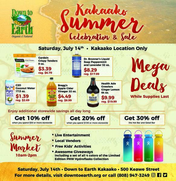 Down to Earth Kaka'ako Summer Celebration Ad