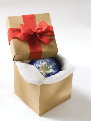 Photo: Gift Box with a Small Earth Globe