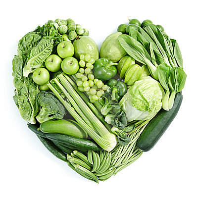 Green Fruits and Vegetables in the shape of a heart