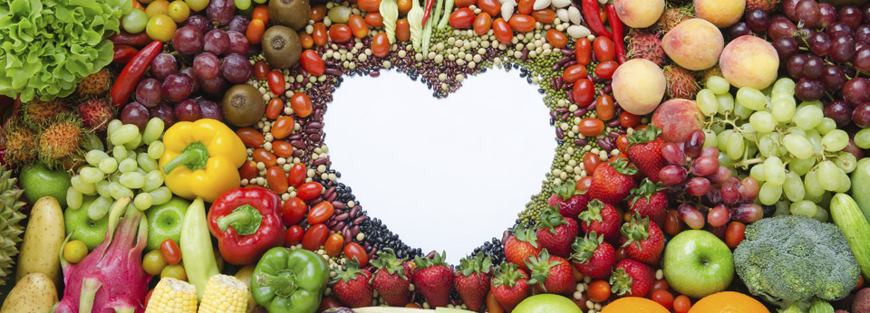 Photo: Fruits, Vegetables and Nuts form the outline of a Heart