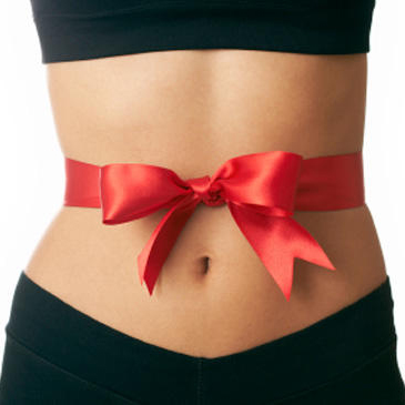 Photo: Red Ribbon and Bow tied around a Woman's Stomach