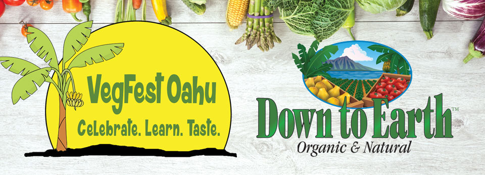 VegFest Oahu logo and Down to Earth logo